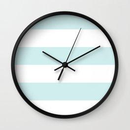 Wide Horizontal Stripes - White and Light Cyan Wall Clock