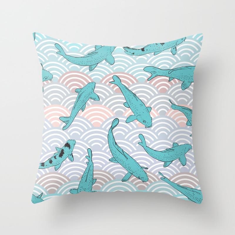 Koi Carp Blue Fish Asian Wave Circle Background Throw Pillow By Ekaterinap Society6