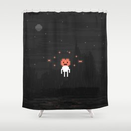 Hovering Halloween pumpkin head Shower Curtain