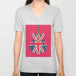 Union Jack Flag Guitar - Crimson Unisex V-Neck