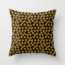 Gold Metallic Foil Photo-Effect Monstera Giant Tropical Leaves on Black Throw Pillow
