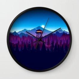 landscape mountains forest watch tower minimalist digital art Wall Clock
