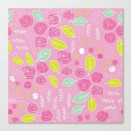 Belle Fleurs - bright roses Canvas Print