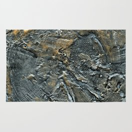 Silver and Gold Textured Abstract Rug