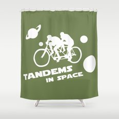 Tandems in Space in Green Shower Curtain