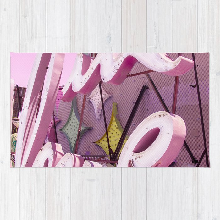 """Pink """"In Love"""" Sign at the Neon Museum in Las Vegas, Nevada Rug"""