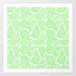 Paisley (Light Green & White Pattern) Art Print
