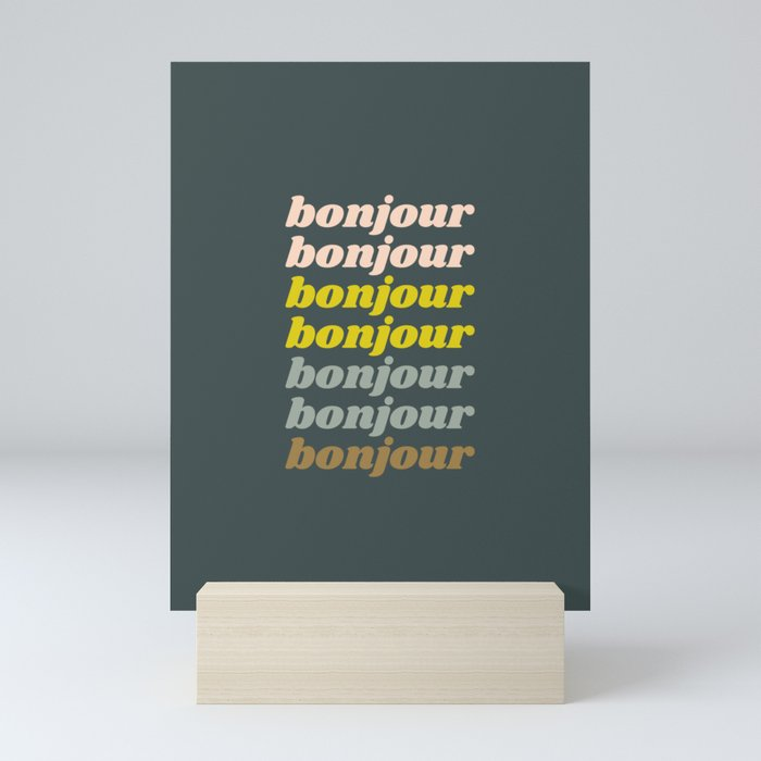 Bonjour in Pretty Pastels Mini Art Print