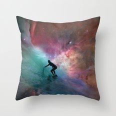 Nebulous Surfing Throw Pillow