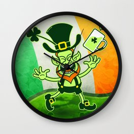 Leprechaun Full of Joy Celebrating St Patrick's Day Wall Clock