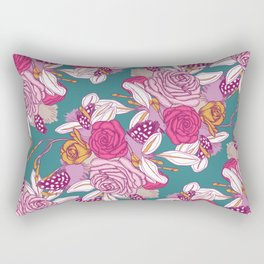 Spring flowers on dark teal background Rectangular Pillow