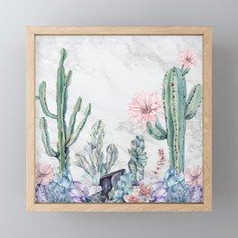 Desert Gemstone Oasis Marble Black and White Framed Mini Art Print