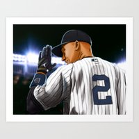yankees Art Prints featuring Jeter by Ryan Ketley