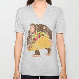 """Bigfoot With A Taco Funny Distressed Cinco De Mayo T-Shirt "" Unisex V-Neck"