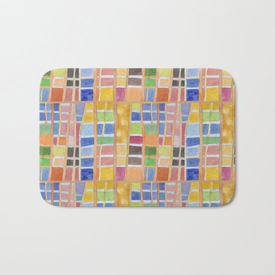 Rectangle Pattern With Sticks Bath Mat