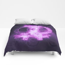 Female homosexuality symbol. Lesbian glyph. Doubled female sign. Abstract night sky background Comforters