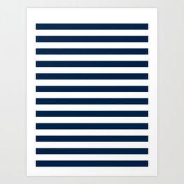 Narrow Horizontal Stripes - White and Oxford Blue Art Print