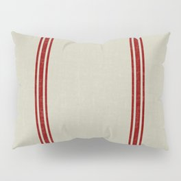 Red Stripes on Linen color background French Grainsack Distressed Country Farmhouse Pillow Sham