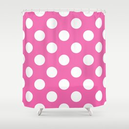 Geometric Candy Dot Circles - White on Strawberry Pink Shower Curtain