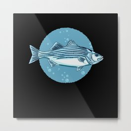 Striped Bass Fishing Shirt Metal Print