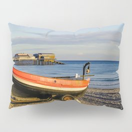Traditional crab fishing boat on the beach Pillow Sham