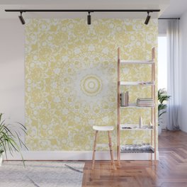 White Lace Mandala on Sunshine Yellow Background Wall Mural