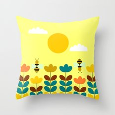 Flowers with bees Throw Pillow