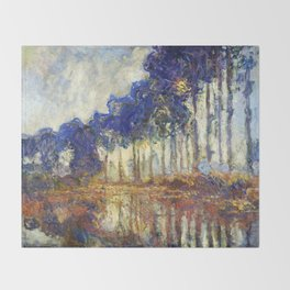 Poplars on the Bank of the Epte River by Claude Monet Throw Blanket