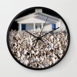 Little Church in the cotton field Wall Clock