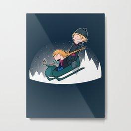 A Snowy Ride Metal Print