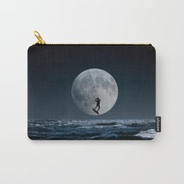 Kitesurfer in the moonin  blue night sky horizon Carry-All Pouch