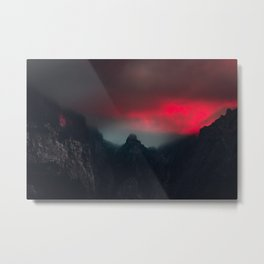 Burning clouds, fog and mountains Metal Print
