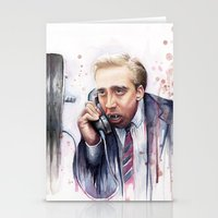 cage Stationery Cards featuring Nicolas Cage by Olechka