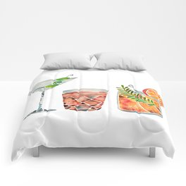 Classic Cocktails  – 1960s Watercolor Lineup Comforters