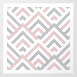 Pink + Gray | Brentwood Abstract Art Art Print