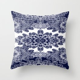 Blue Floral Damask Throw Pillow