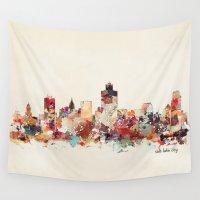 utah Wall Tapestries featuring salt lake city utah by bri.buckley
