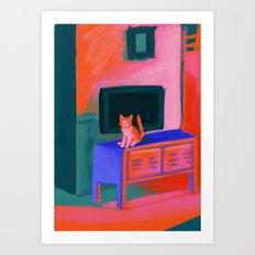 Cat in front of TV Art Print