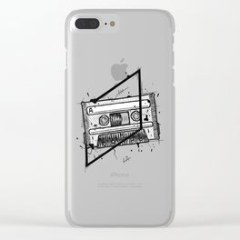 Audio Cassetta Handmade Drawing, Made in pencil and ink, Tattoo Sketch, Tattoo Flash, Blackwork Clear iPhone Case