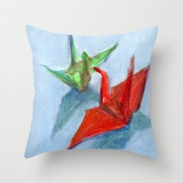 Origami Cranes Throw Pillow