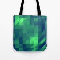seahawks Tote Bags featuring Polygon Nine by Jambot