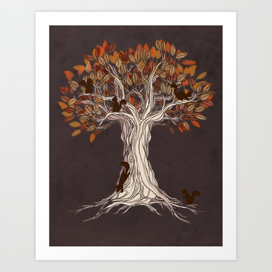 Little Visitors - Autumn tree illustration with squirrels Art Print