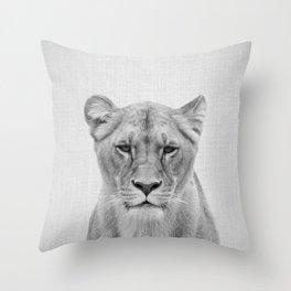 Lioness - Black & White Throw Pillow