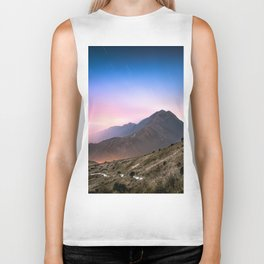 Fantasy mountainscape at night with starry sky in Hong Kong Biker Tank