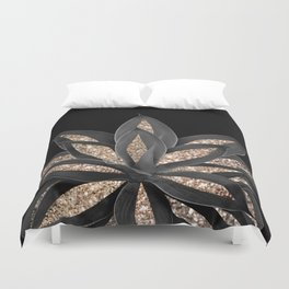 Gray Black Agave with Gold Glitter #1 #shiny #tropical #decor #art #society6 Duvet Cover