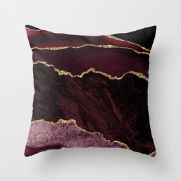 Burgundy Geode & Gold Glitter Throw Pillow