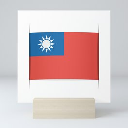 Flag of Taiwan.  The slit in the paper with shadows. Mini Art Print