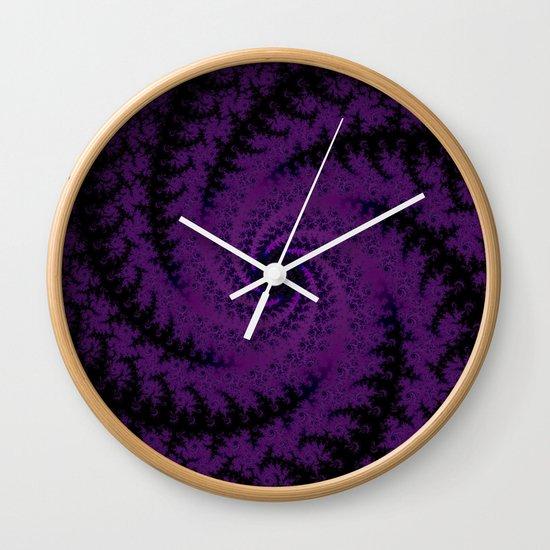 Purple Spiral Fractal Design Wall Clock