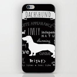 Dachshund black and white iPhone Skin
