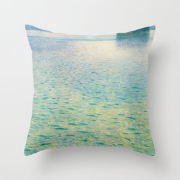 Island in the Attersee Gustav by Klimt Date 1902 // Abstract Oil Painting Water Horizon Scene Throw Pillow